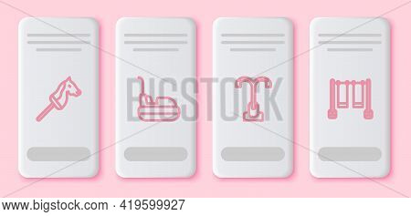 Set Line Toy Horse, Bumper Car, Street Light And Double Swing. White Rectangle Button. Vector