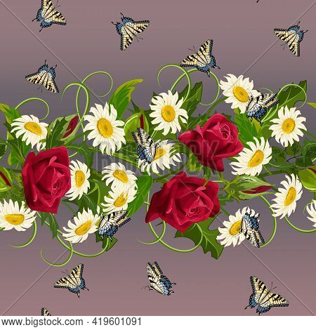 Pattern With Roses And Daisies.roses, Daisies And Butterflies On A Colored Background In A Vector Pa