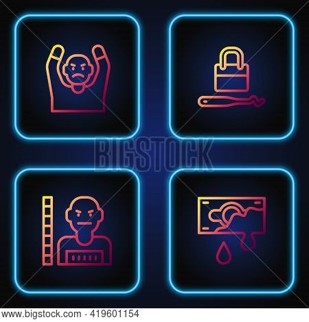 Set Line Bloody Money, Suspect Criminal, Thief Surrendering Hands Up And Lock Picks For Lock Picking
