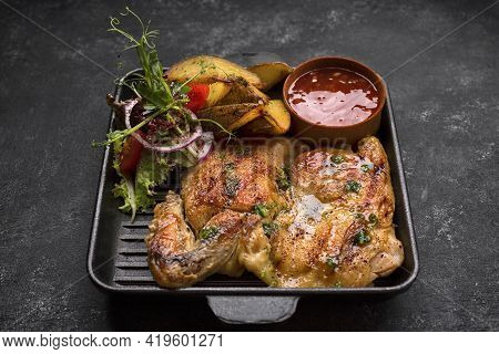 Fried Chicken With Crispy Crust, Potatoes And Sauce