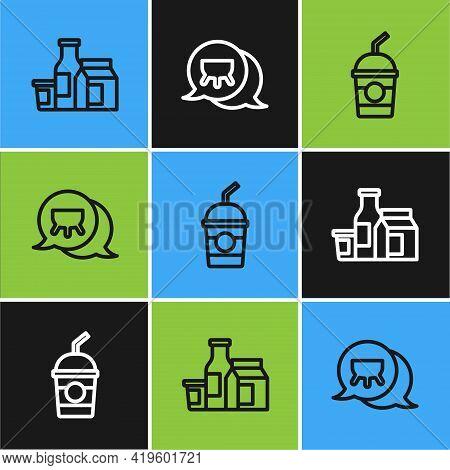 Set Line Milk Product, Milkshake And Udder Icon. Vector