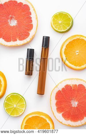 Cosmetic Roller Oil And Citrus Fruits . Cosmetic Procedures. Healthy Skin. Skin Care. Citrus Oil. Wh