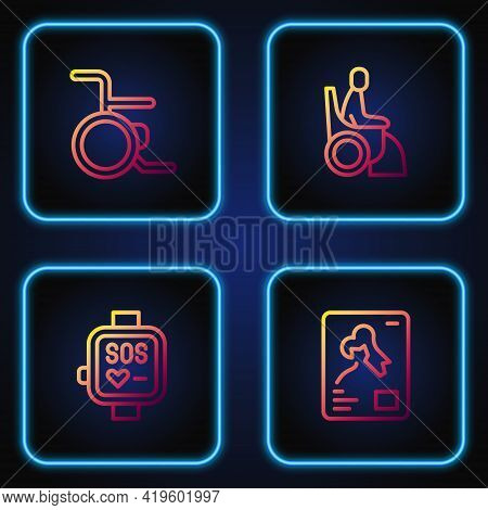 Set Line X-ray Shots, Smart Watch, Wheelchair And Woman In Wheelchair. Gradient Color Icons. Vector
