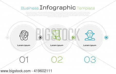 Set Line Hearing Aid, Braille And Deaf. Business Infographic Template. Vector