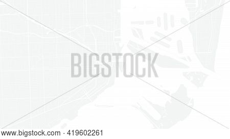 Light Grey And White Miami City Area Vector Background Map, Streets And Water Cartography Illustrati