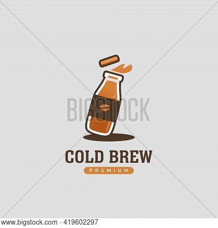 Cold Brew Pressed Coffee Inside Bottle Logo Icon Template