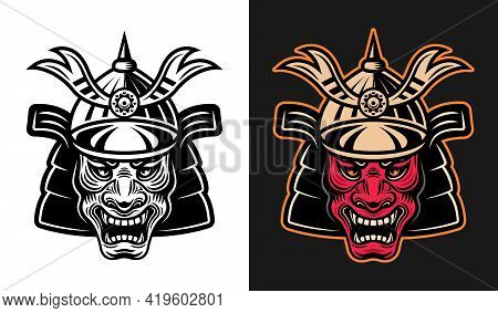 Japanese Demon Samurai In Helmet Vector Illustration In Two Styles Monochrome On White And Colorful