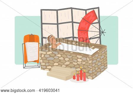 Man In A Shower Cap Takes A Salt Bath In A Spa Salon. Body And Skin Care, Health And Body Care. Vect