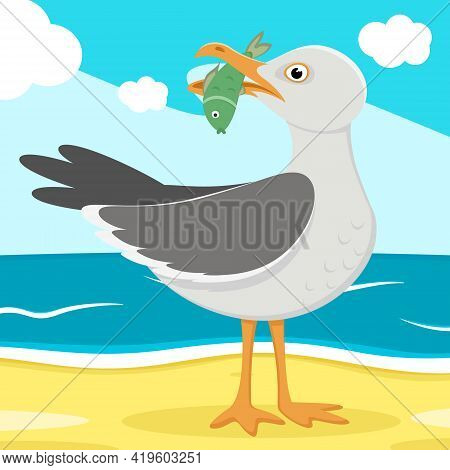Seagull With Fish In Its Beak Close Up Stands On The Background Of Nature