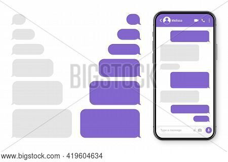 Realistic Smartphone With Messaging App. Blank Sms Text Frame. Messenger Chat Screen With Violet Mes