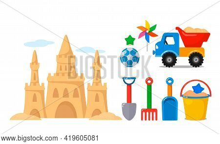 A Large Set Of Children's Sand Toys. Sand Castle, Baby Bucket And Shovel, Sand Molds, Car, Truck. Ve