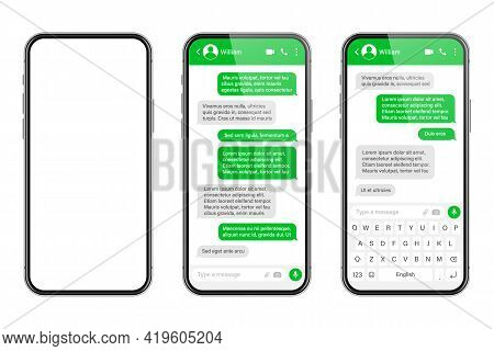 Realistic Smartphone With Messaging App. Sms Text Frame. Messenger Chat Screen With Green Message Bu