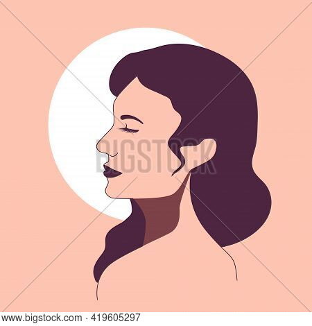 Delicate Profile Of A Dreaming Woman In Pastel Pink And Purple Against A White Moon. Minimalistic Ve