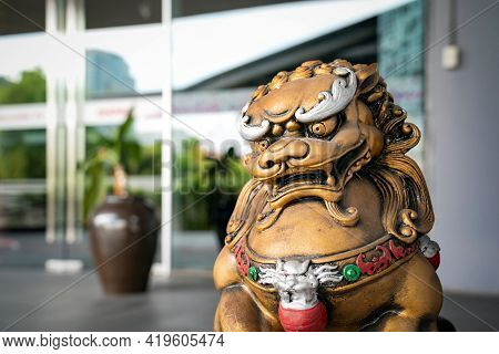 Chinese Golden God Lion Statue Is The Asia Zen Structure Ornament Emperor In Front Of The Door To Pr