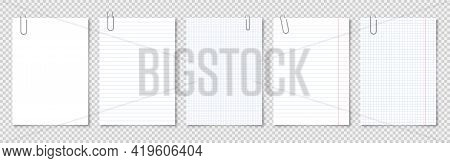Realistic Blank Paper Sheets In A4 Format With Metal Clip, Holder On Transparent Background. Noteboo