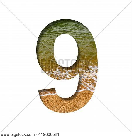 Sea Shore Font. The Digit Nine, 9 Cut Out Of Paper On A Background Of The Beach Of Seashore With Coa