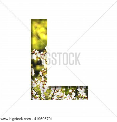 Spring Sunny Font. The Letter L Cut Out Of Paper On The Background Of Blooming Cherry On A Sunny Spr