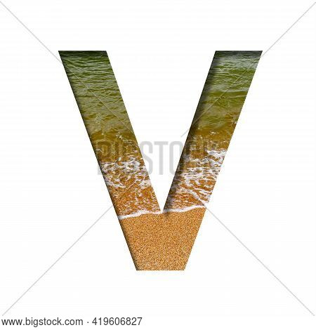 Sea Shore Font. The Letter V Cut Out Of Paper On A Background Of The Beach Of Seashore With Coarse S