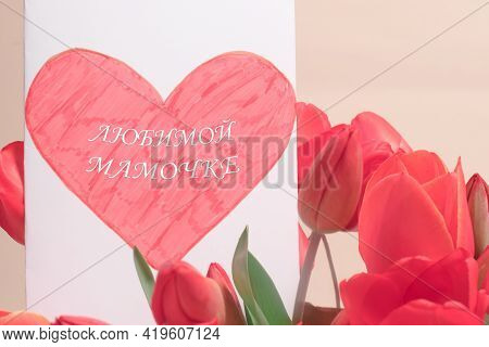 Beautiful Greeting Card With Tulips With The Inscription On The Russian Dear Mommy. Happy Mother's D