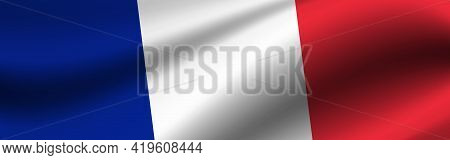 Banner With The Flag Of France. Fabric Texture Of The Flag Of France.