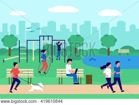 People Gathering In City Urban Park And Sport In Nature, Active Exercise, Sit On Bench With Work Lap