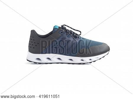 Side View Of Running Shoe Or Hydro Sneakers For Water Sport Isolated On White Background