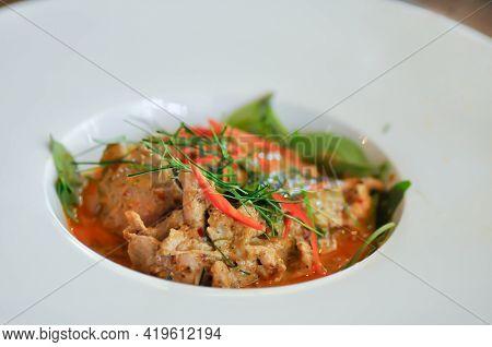 Curry Pork, Thai Curry Pork Or Stir Fried Pork With Curry Or Thai Food