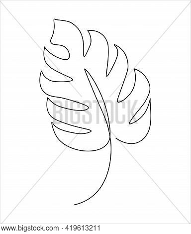 Monstera Leaf Drawn With One Line. Continuous Line Silhouette Of A Leaf. Modern Abstract Minimal Des