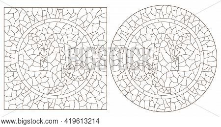 Set Of Contour Illustrations In The Style Of Stained Glass With The Signs Of The Zodiac Capricorn, D