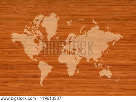 World Map Isolated On Brown Wooden Wall Background