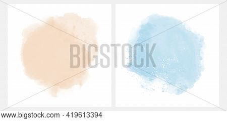 Set Of 2 Abstract Watercolor Style Vector Splashes. Pastel Blue And Lightt Beige Paint Stains On A W