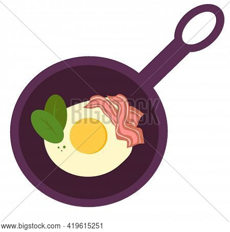 Fried Egg With Herbs And Bacon In A Skillet. Fried Eggs. Bacon. Spinach. Isolated