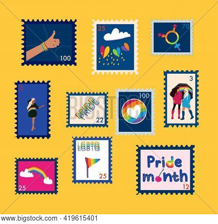 Set Of Trendy Lgbtq Stamps. Day Against Homophobia. Pride Month. Vector Postmarks With Rainbow Flags