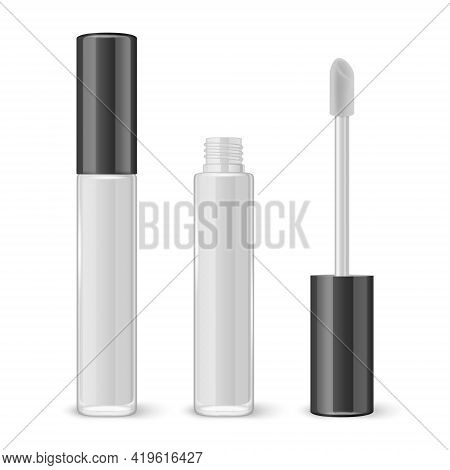 Vector 3d Realistic Closed, Opened White Lip Gloss, Lipstick Package, Black Lid Set Isolated On Whit