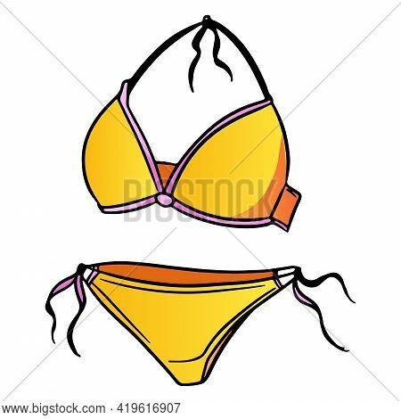 Summer Items Two-piece Swimsuit For Swimming Yellow In Cartoon Style