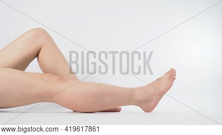 Asian Male Barefoot Is Isolated On White Background.