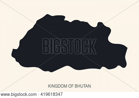 Highly Detailed Bhutan Map  With Borders Isolated On Background. Simple Flat Icon Illustration For W