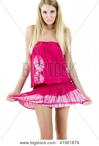 Young slender woman in a smart dress