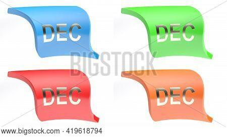 Dec For December Colorful Icon Set - 3d Rendering Illustration