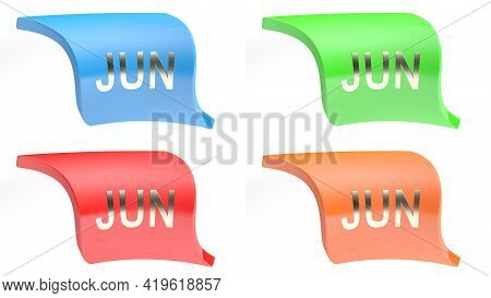 Jun For June Colorful Icon Set - 3d Rendering Illustration