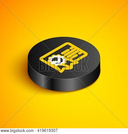 Isometric Line Certificate Template Line Icon Isolated On Yellow Background. Achievement, Award, Deg