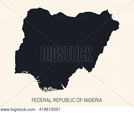Highly Detailed Nigeria Map With Borders Isolated On Background. Simple Icon