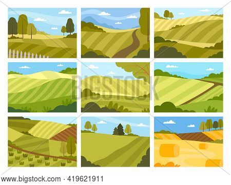 Country View With Soil, Pasture Land And Winding Road As Green Landscape Vector Set