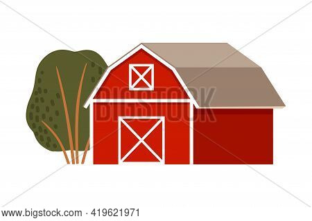 Timbered Red Barn Or Granary For Crop Storage Vector Illustration