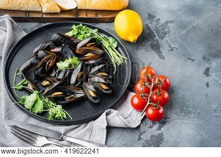 Boiled Mussels In Shells With Spices And Herb, On Plate, On Gray Background , With Copyspace  And Sp