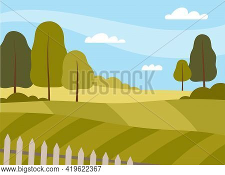 Country View With Sown Field And Pasture Land As Green Landscape Vector Illustration
