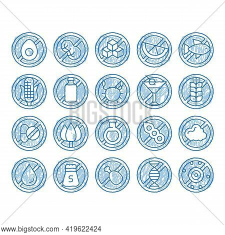 Allergen Free Products Sketch Icon Vector. Hand Drawn Blue Doodle Line Art Allergen Free Food, Drink