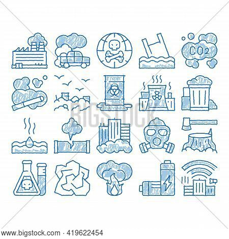 Pollution Of Nature Sketch Icon Vector. Hand Drawn Blue Doodle Line Art Environmental Pollution, Che