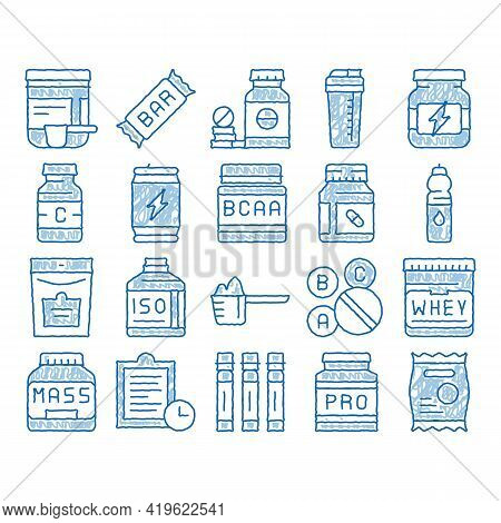 Sport Nutrition Cells Sketch Icon Vector. Hand Drawn Blue Doodle Line Art Sport Nutrition For Sports