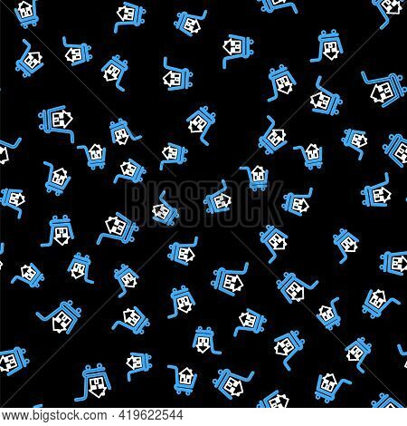 Line Shopping Cart With House Icon Isolated Seamless Pattern On Black Background. Buy House Concept.